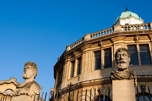 External photo of Sheldonian Theatre against bright blue sky