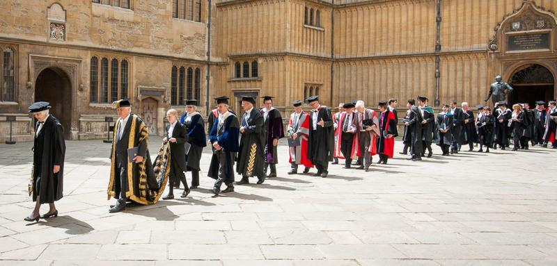 Photo of Encaenia procession leaving the Bodleian Library