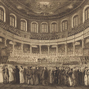 Image of a historical engraving of the interior of Sheldonian Theatre